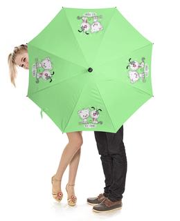 """Зонт-трость с деревянной ручкой """"Друзья"""" - мультяшки, друзья, рисунок, щенок, котёнок"""