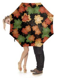 """Зонт-трость с деревянной ручкой """"листья клена осень"""" - погода, природа, узор, клен, листья"""