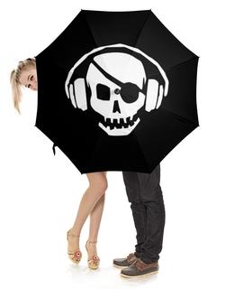 """Зонт-трость с деревянной ручкой """"Пират    """" - череп, пират"""