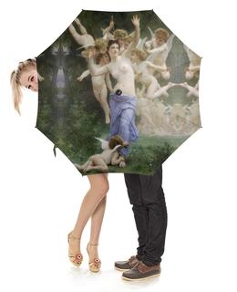"""Зонт-трость с деревянной ручкой """"Вторжение в королевство Амуров (Вильям Бугро)"""" - ангелы, картина, купидон, бугро"""