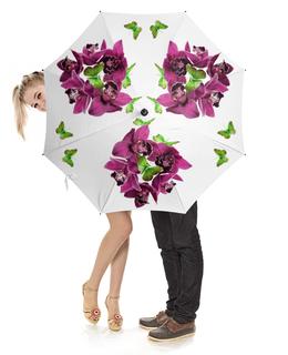 """Зонт-трость с деревянной ручкой """"Калейдоскоп"""" - бабочки, зеленая, орхидея, калейдоскоп, бордовая"""