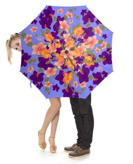 """Зонт-трость с деревянной ручкой """"Цветы. Орхидеи. Цветочная фантазия."""" - цветы, букет, орхидея, цветочный узор"""