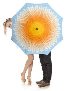 """Зонт-трость с деревянной ручкой """"Солнечный круг, небо вокруг."""" - девушка, солнце, женщина, орнамент, абстракция"""