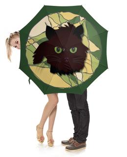"""Зонт-трость с деревянной ручкой """"Котик на траве"""" - кот, глаз, черный, зеленый, трава"""