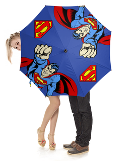 """Зонт-трость с деревянной ручкой """"Супермен"""" - супермен, комиксы, superman, супергерои, супермэн"""