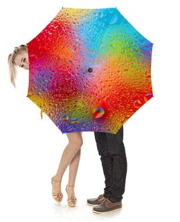 """Зонт-трость с деревянной ручкой """"Капельки"""" - осень, дождь, яркие краски"""
