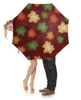 """Зонт-трость с деревянной ручкой """"зонт с узором из листьев клена"""" - дождь, клен, листья, узор, погода"""