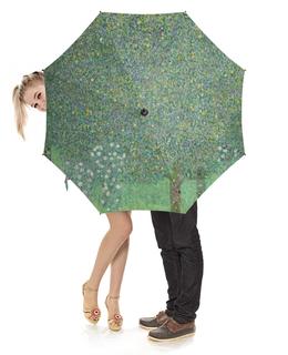 """Зонт-трость с деревянной ручкой """"Розы под деревьями (Густав Климт)"""" - картина, живопись, климт"""