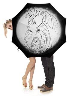 """Зонт-трость с деревянной ручкой """"Ежик на луне и лошадка в тумане"""" - звезды, небо, луна, ежик на луне, лошадка в тумане"""