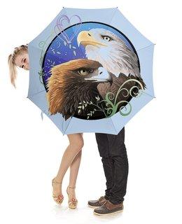 """Зонт-трость с деревянной ручкой """"ОРЛИНОЕ НЕБО"""" - любовь, птицы, орлы, стиль эксклюзив креатив красота яркость, арт фэнтези"""