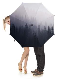 """Зонт-трость с деревянной ручкой """"Лес в тумане"""" - природа"""