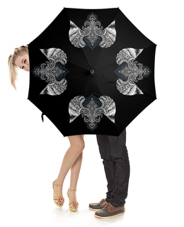 """Зонт-трость с деревянной ручкой """"Королевская лилия с крыльями ESZAdesign"""" - рок, татуировка, королевский, винтаж, стильный"""