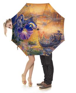 """Зонт-трость с деревянной ручкой """"Fantasy Design"""" - цветы, лев, город, фэнтези, мореплавание"""