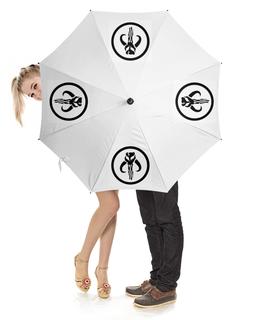 """Зонт-трость с деревянной ручкой """"Мандалорцы. Звездные войны"""" - арт, мультик, star wars, абстракция, звездные войны"""