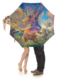 """Зонт-трость с деревянной ручкой """"Fantasy Design"""" - любовь, сердца, природа, пара, фэнтези"""