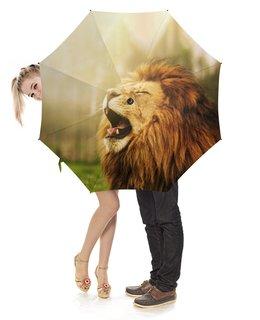 """Зонт-трость с деревянной ручкой """"Лев             """" - животные, фото, лев, коты"""