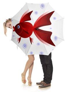 """Зонт-трость с деревянной ручкой """"Золотая аквариумная рыбка"""" - арт, золотая рыбка, аквариум, детская иллюстрация, под знаком рыб"""