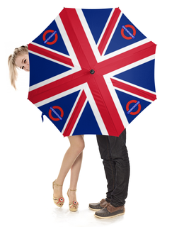 """Зонт-трость с деревянной ручкой """"British Flag (underground)"""" - англия, флаг, underground, великобритания, арт дизайн"""