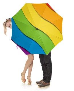 """Зонт-трость с деревянной ручкой """"Радуга"""" - лгбт, орнамент, стиль, узор, абстрактный"""