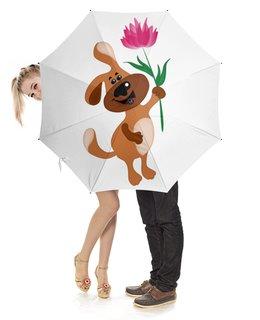 """Зонт-трость с деревянной ручкой """"Пес держит в лапе цветочек"""" - праздник, цветок, 8 марта, пес, подарок"""