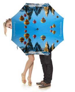 """Зонт-трость с деревянной ручкой """"Cappadocia"""" - природа, горы, воздушные шары, каппадокия"""