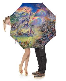 """Зонт-трость с деревянной ручкой """"Fantasy Design"""" - девушка, животные, фантастика, фэнтези"""