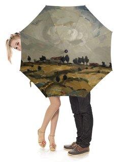 """Зонт-трость с деревянной ручкой """"Осенний пейзаж с облаками (Аалто Илмари)"""" - картина, пейзаж, живопись, финляндия, аалто илмари"""