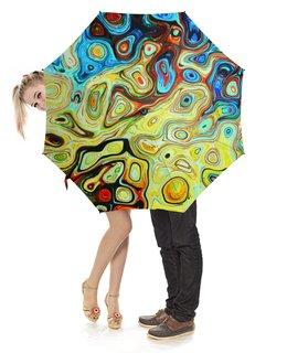"""Зонт-трость с деревянной ручкой """"Зонт-трость Liquid motion"""" - разводы краски, цветные пятна, цветной, яркий, мрамор"""