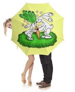 """Зонт-трость с деревянной ручкой """"Зайчишки с морковкой"""" - любовь, подарок, морковка, влюбленность, зайчишки"""