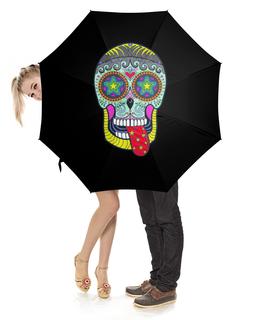 """Зонт-трость с деревянной ручкой """"череп"""" - череп, прикольный, черепушка"""