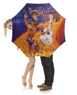 """Зонт-трость с деревянной ручкой """"Тайна Коко"""" - музыка, мультфильм, дисней, приключения, тайна коко"""