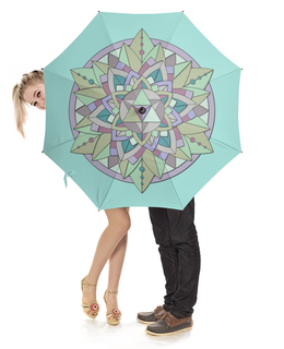 """Зонт-трость с деревянной ручкой """"Зонт-трость Sacred mint"""" - узор, мандала, паттерн, мята, визуализация"""