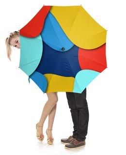 """Зонт-трость с деревянной ручкой """"Разноцветный"""" - стиль, рисунок, узор, разноцветный, абстрактный"""