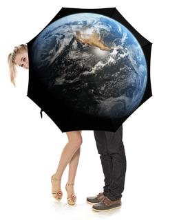 """Зонт-трость с деревянной ручкой """"Планета Земля"""" - арт, планета, космос, земля"""
