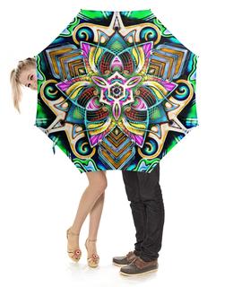 """Зонт-трость с деревянной ручкой """"Mandala HD 4"""" - узор, ретро, классика, этно, симметрия"""