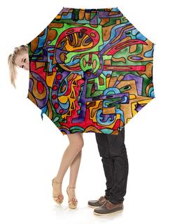 """Зонт-трость с деревянной ручкой """"-0--[RFSAL]\`"""" - арт, узор, абстракция, фигуры, текстура"""
