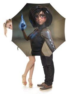 """Зонт-трость с деревянной ручкой """"Alita: Battle Angel"""" - девушка, кино, фантастика, киборг, алита"""
