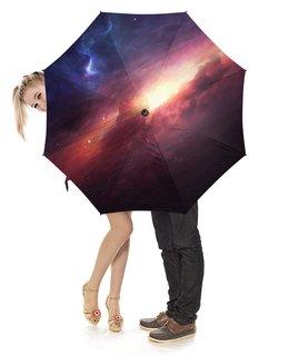 """Зонт-трость с деревянной ручкой """"Яркий космос"""" - звезды, космос, вселенная"""