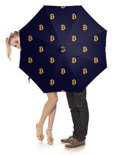 """Зонт-трость с деревянной ручкой """"Биткойн"""" - bitcoin"""
