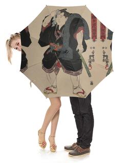 "Зонт-трость с деревянной ручкой ""Борец сумо (Утагава Кунисада)"" - картина, утагава кунисада, живопись, сумо"