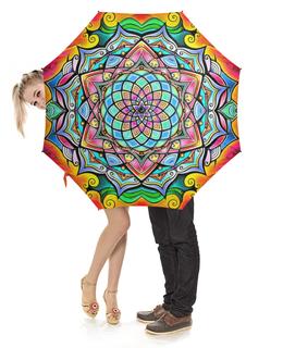 """Зонт-трость с деревянной ручкой """"Mandala HD2"""" - узор, ретро, классика, этно, симметрия"""