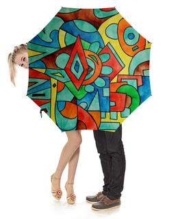 """Зонт-трость с деревянной ручкой """"z//;vcw`0m0"""" - арт, узор, абстракция, фигуры, текстура"""