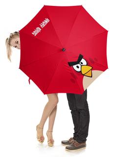 """Зонт-трость с деревянной ручкой """"Angry Birds (Terence)"""" - terence, angry birds, птички, компьютерная игра, мультфильм"""