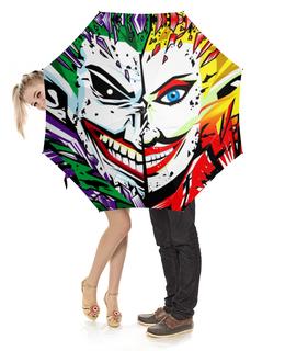 """Зонт-трость с деревянной ручкой """"Harley Quinn & The Joker"""" - джокер, харли квинн, dc комиксы, отряд самоубийц, суперзлодеи"""