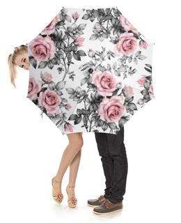 """Зонт-трость с деревянной ручкой """"Цветы"""" - цветы, розы"""
