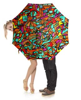 """Зонт-трость с деревянной ручкой """"2EX/`12V"""" - арт, узор, абстракция, фигуры, текстура"""