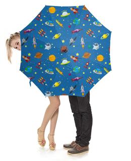 """Зонт-трость с деревянной ручкой """"Веселый космос"""" - космос, вселенная, наука, thespaceway"""