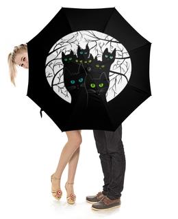 """Зонт-трость с деревянной ручкой """"Черные коты в лесу"""" - кот, черный, лес, ветки, банда"""