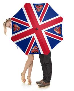 """Зонт-трость с деревянной ручкой """"British Flag (Bus)"""" - англия, флаг, автобус, великобритания, арт дизайн"""