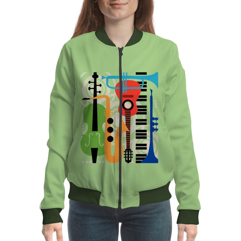 Бомбер Printio Музыкальные инструменты карандаш простой музыкальные инструменты цвет зеленый